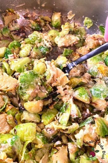 Caesar Brussels sprouts in a skillet