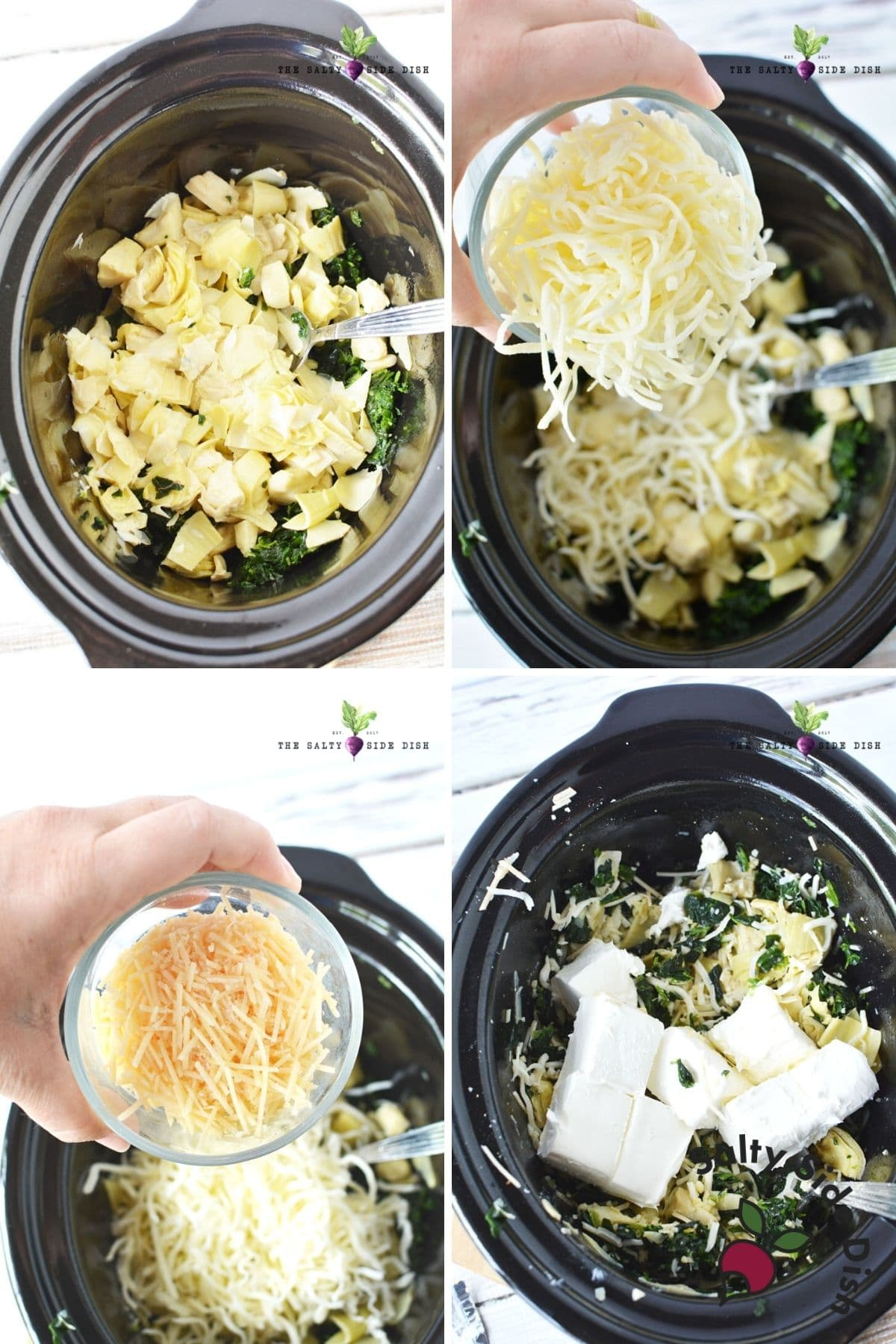 crock pot spinach and artichoke dip recipe with cheese, parmesan and cream cheese ready to be slow cooked