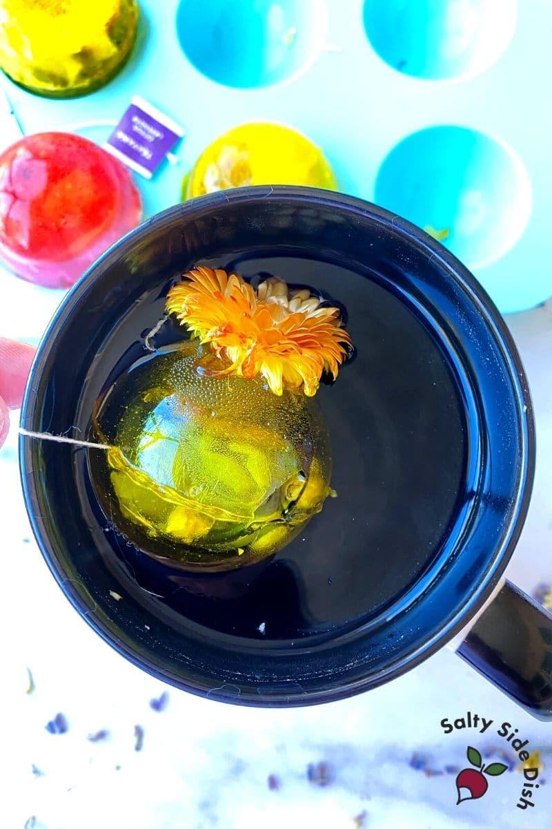 add tea bomb to hot water