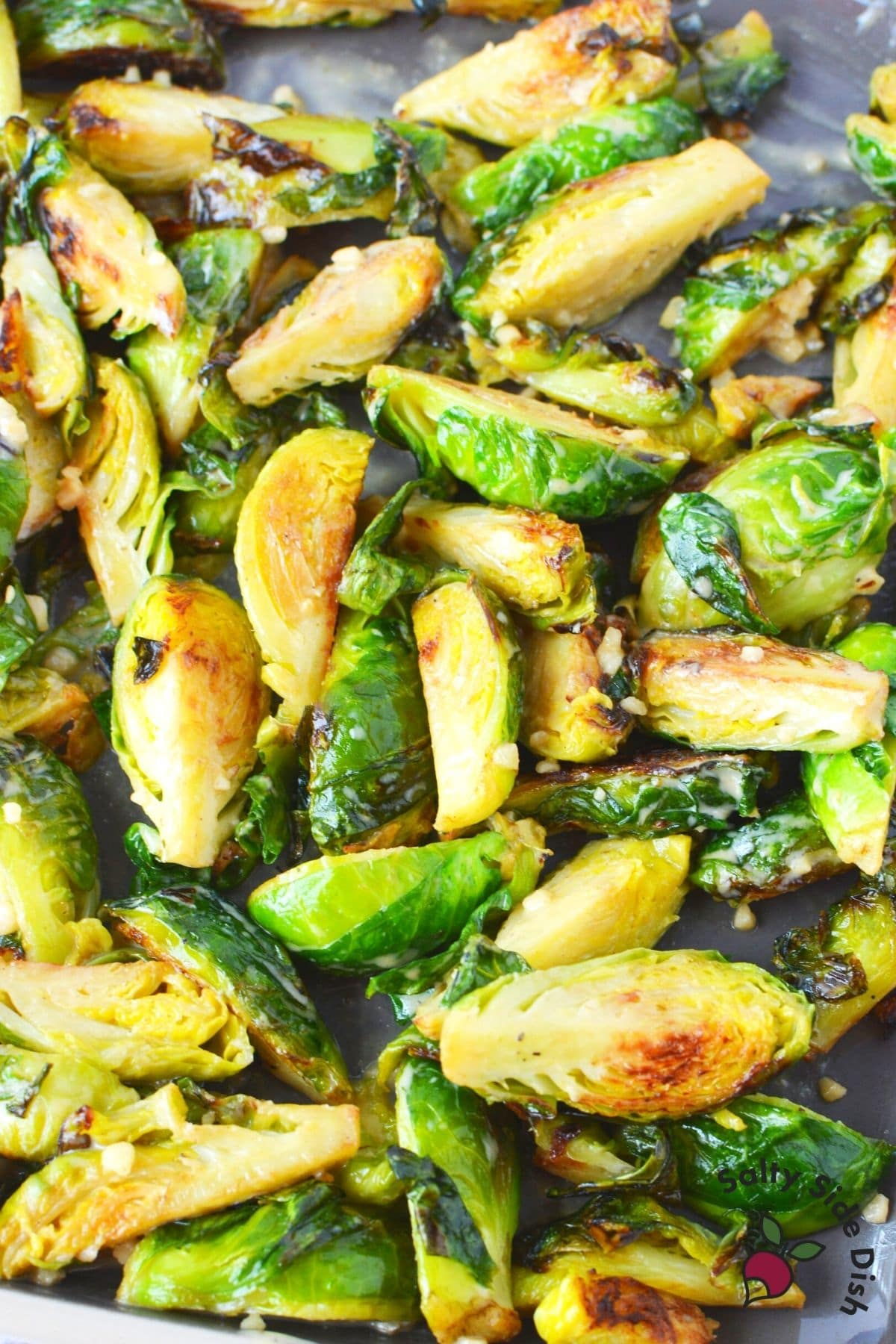 brussels sprouts with panko crumbs in pan