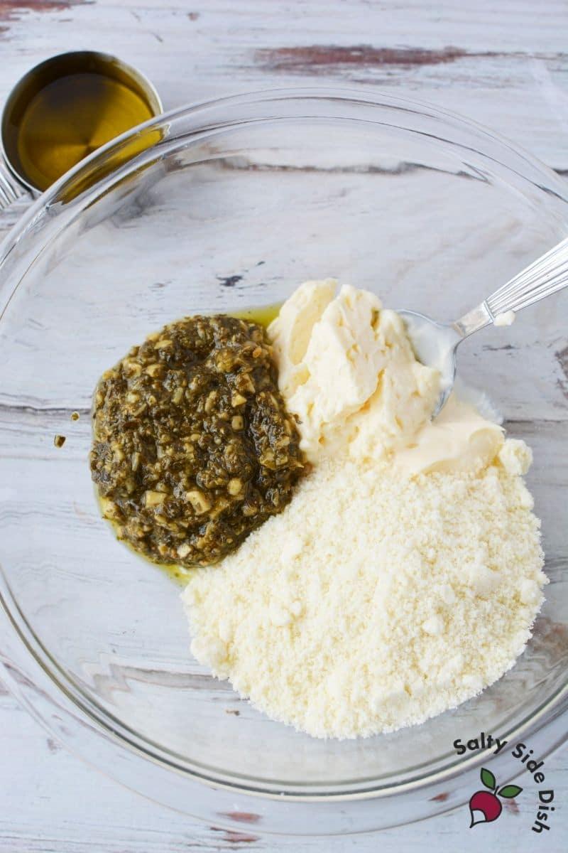 ingredients for pesto dressing using store bought pesto
