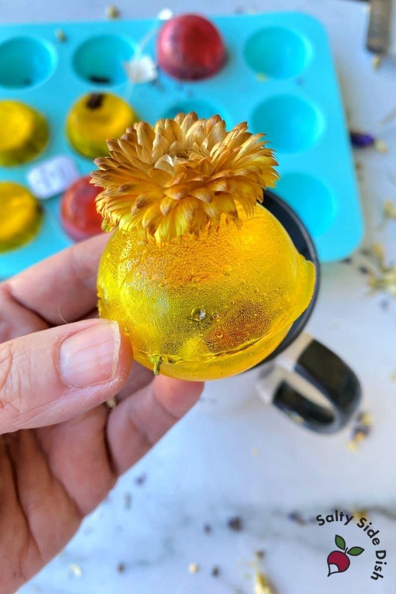 yellow tea bomb with flower