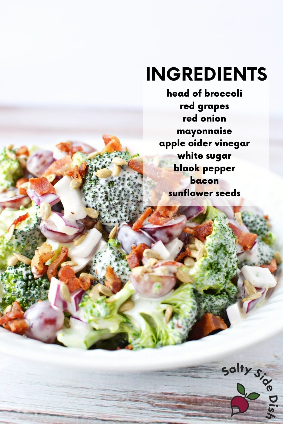 close up list of ingredients for broccoli salad recipe.