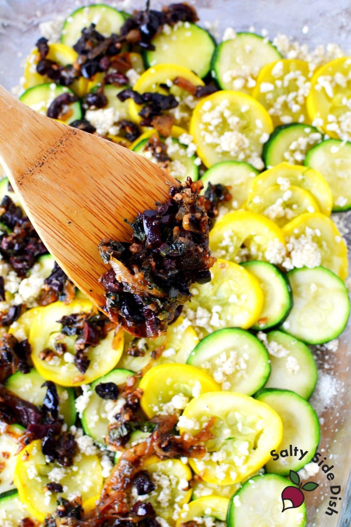 add olives on layered squash casserole