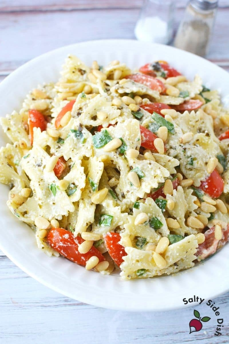 serve up Pasta Salad with Pesto in a bowl and its great for a salad side dish