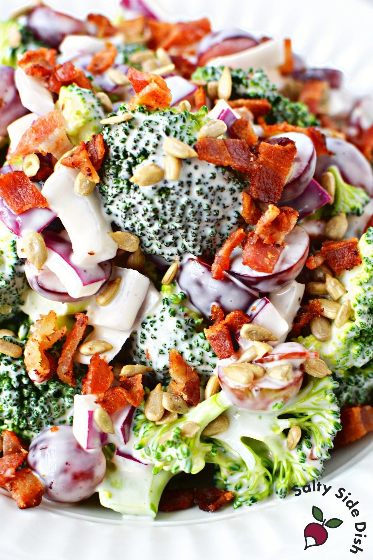 red grape broccoli salad made in advance.