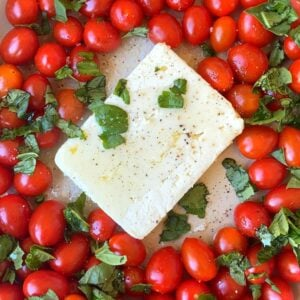baked feta pasta with tomatoes