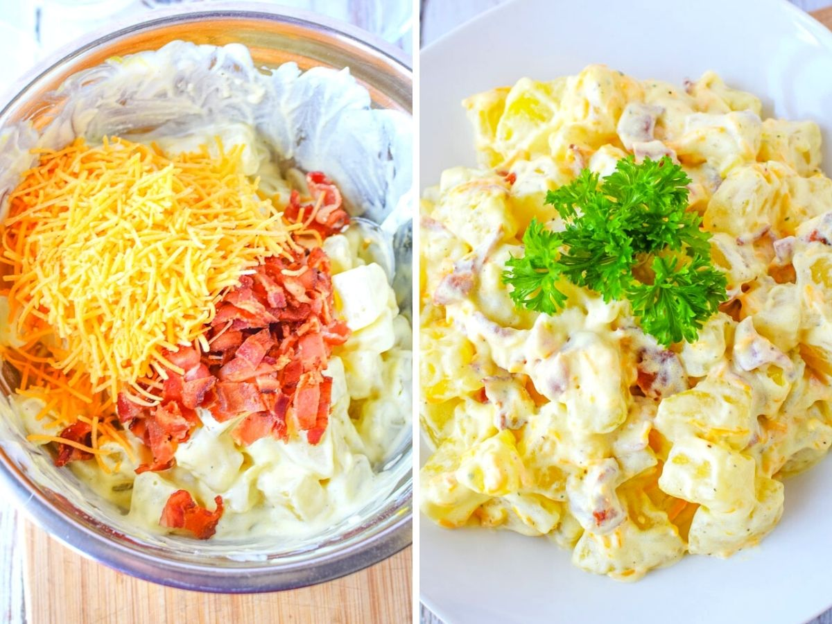 2 image collage of adding cheese and bacon to potato salad and mixing.
