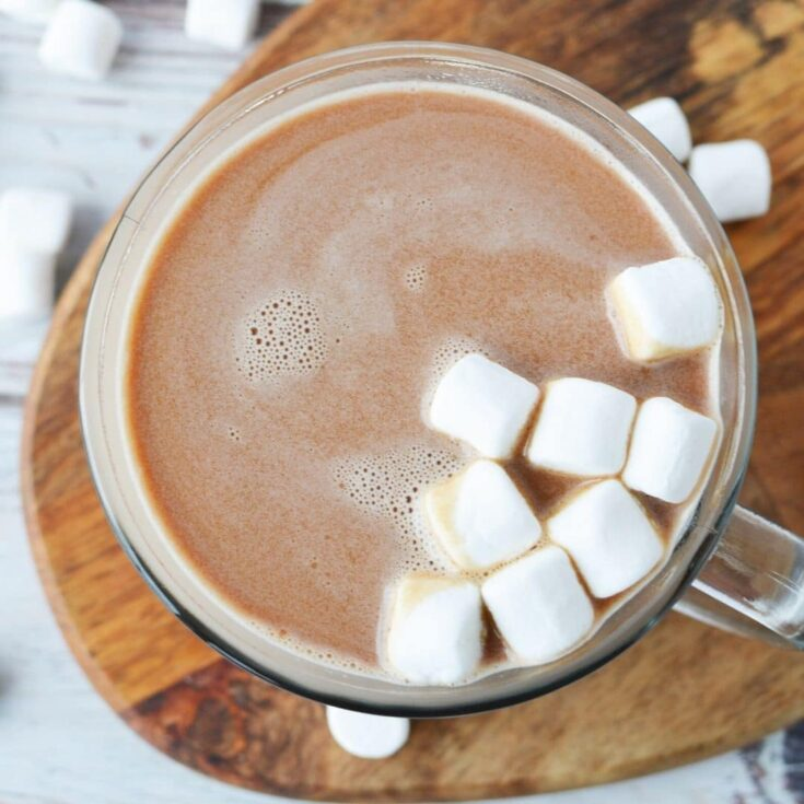 rich homemade hot cocoa in a mug with marshmallows