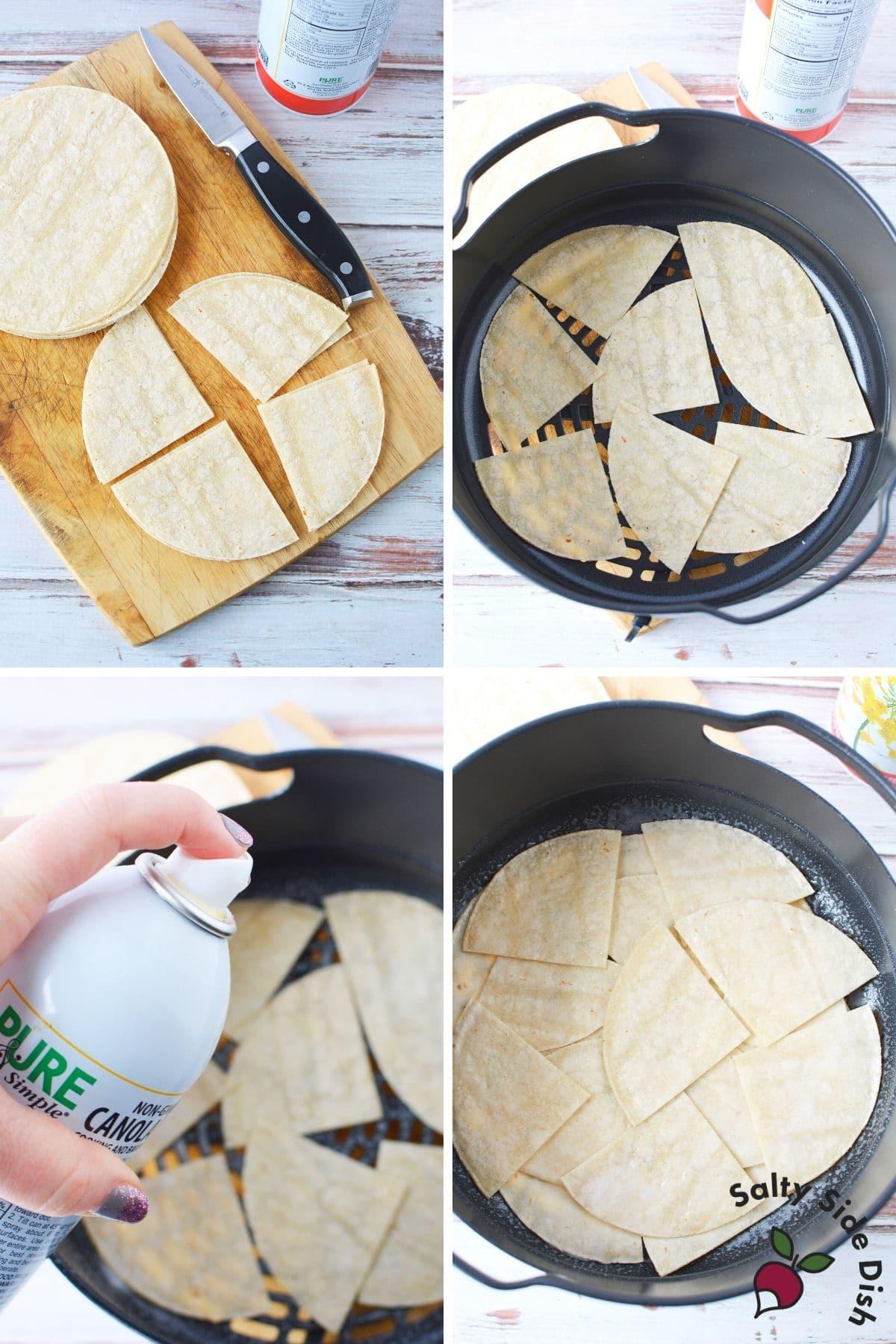 white corn tortillas in the bottom of a ninja foodi air crisp basket
