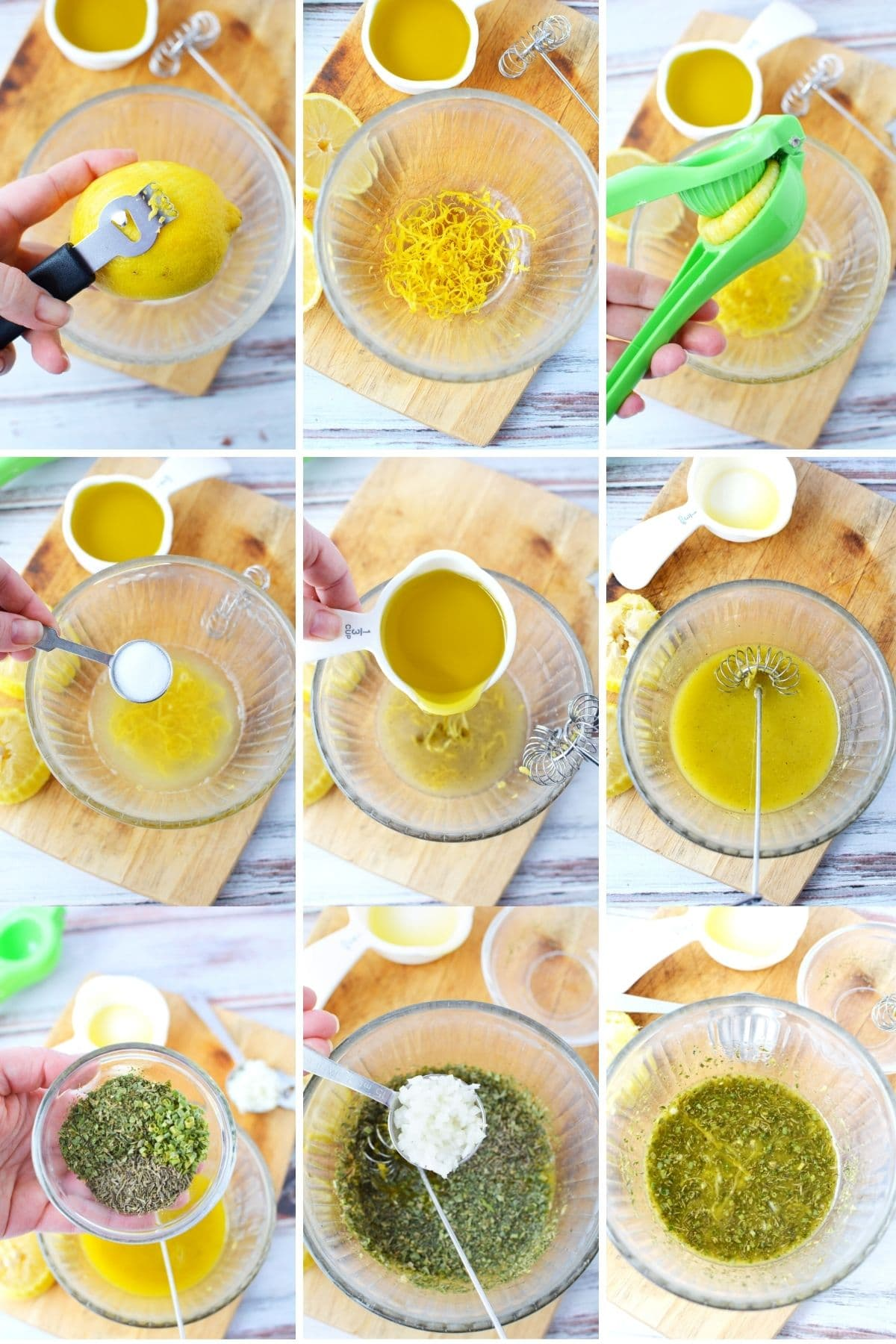 making lemon and herb dressing with fresh lemon, measuring out ingredients and whisking at the end