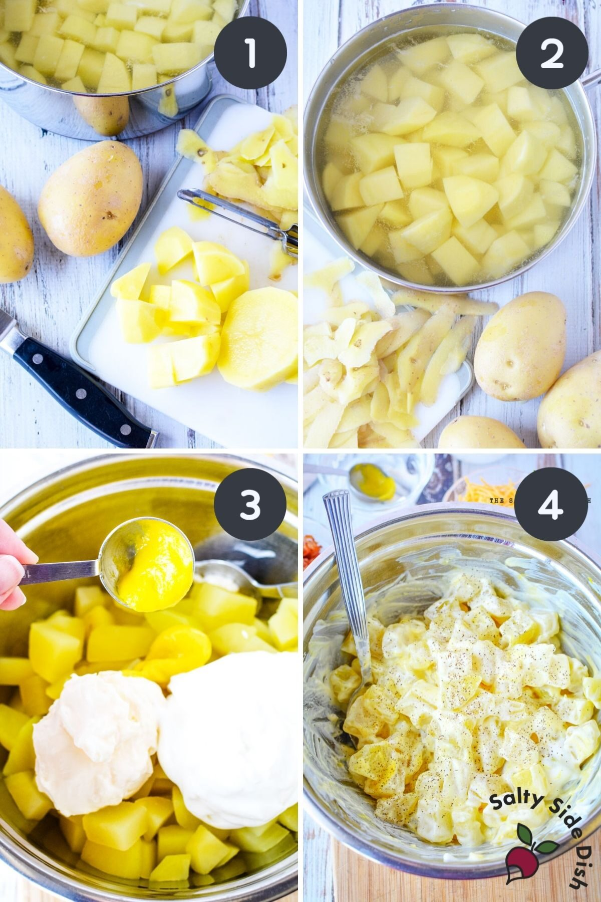 4 image collage of cutting potatoes and adding to bowl for southern potato salad.