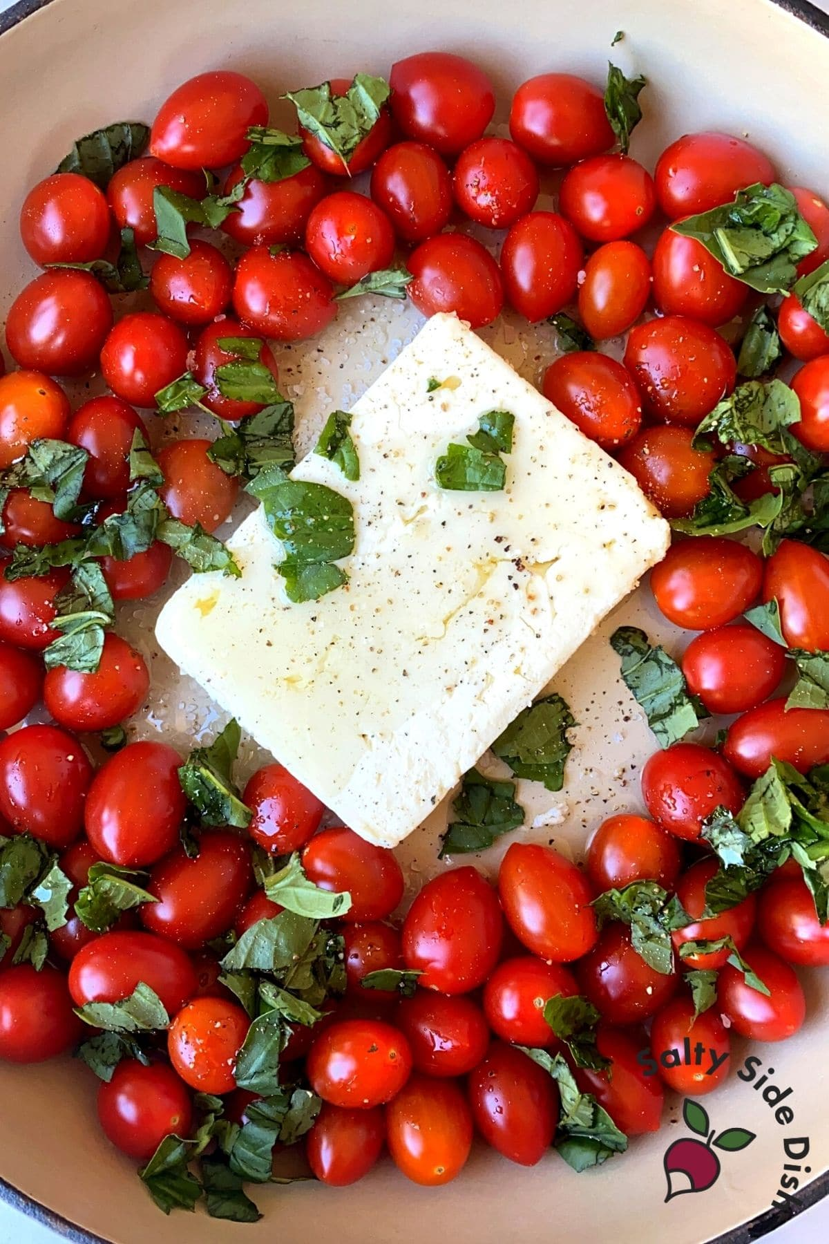 grape tomatoes with feta cheese and fresh basil