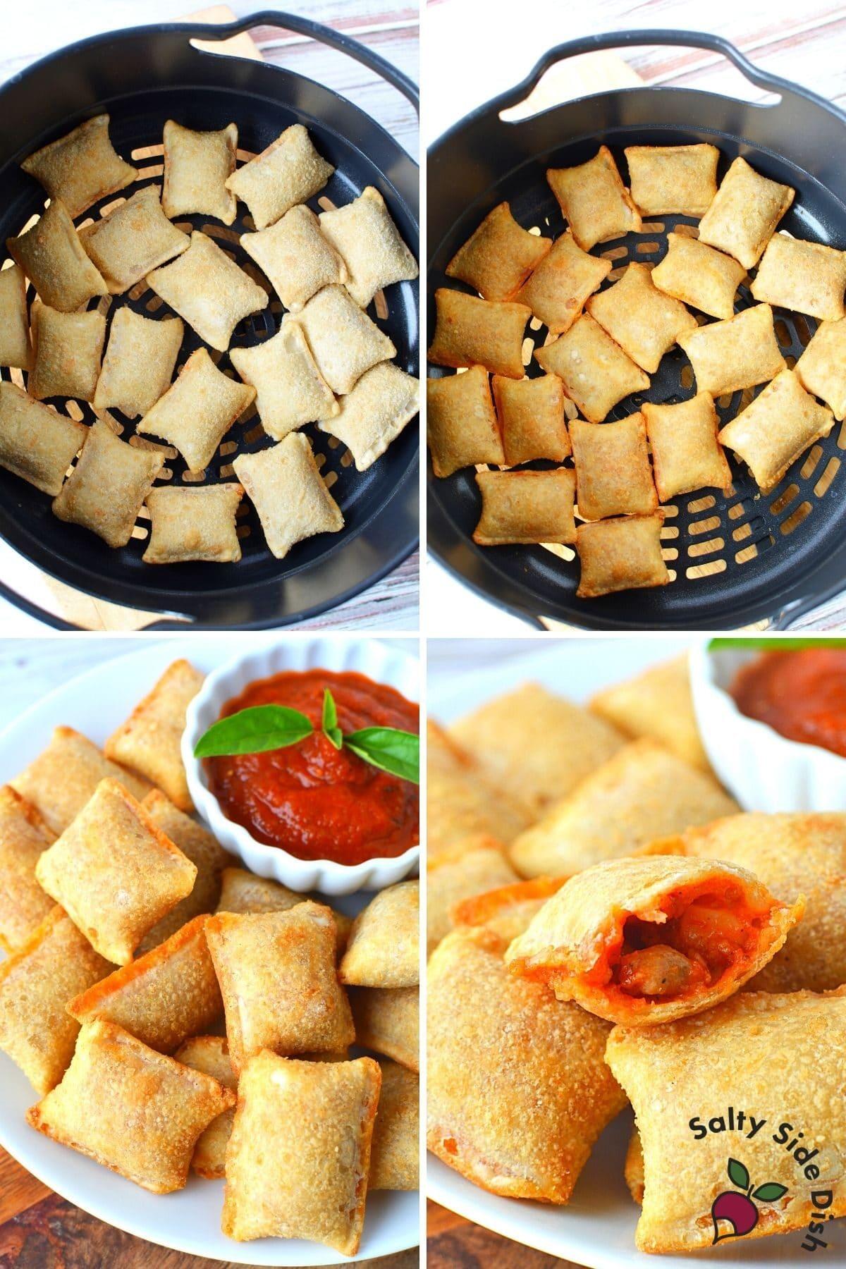 air fryer pizza rolls in air fried basket
