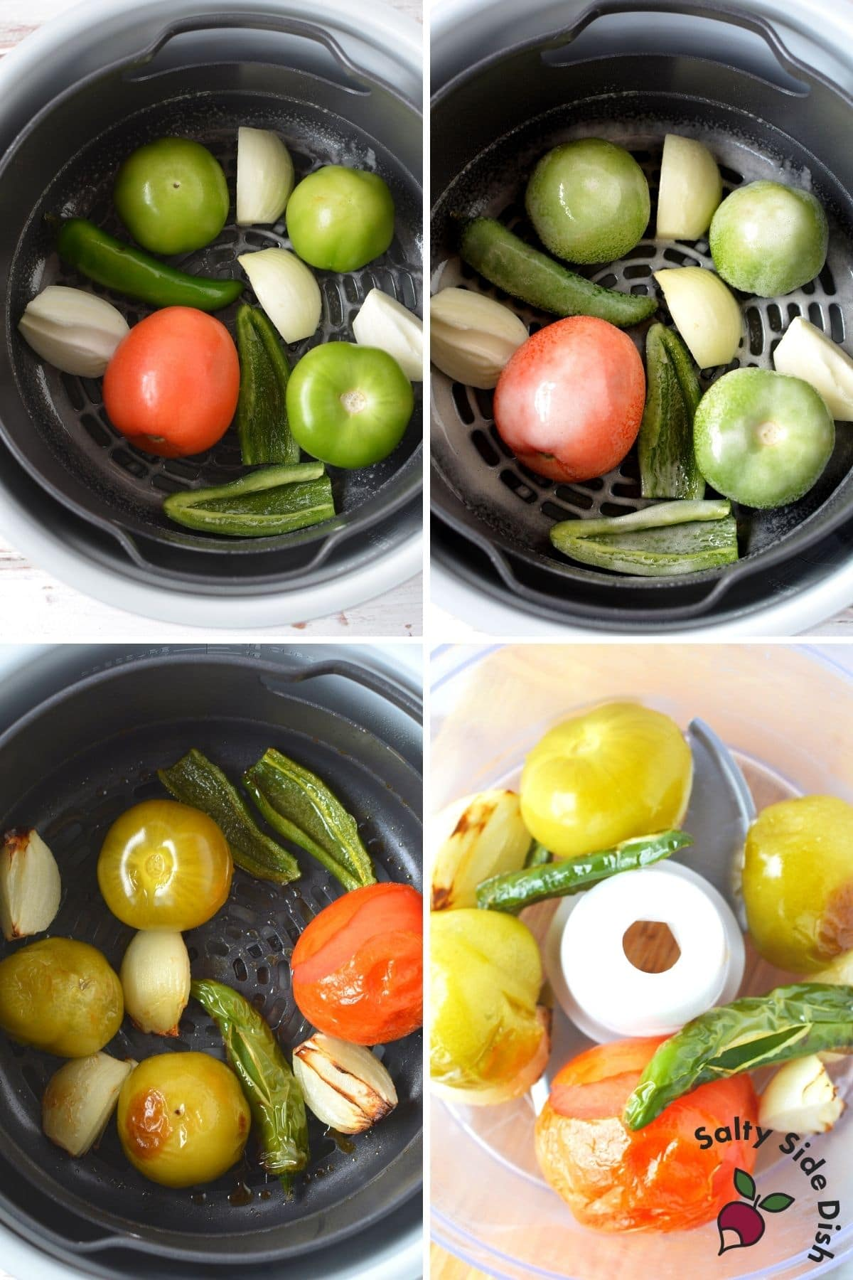 vegetables in air crisp basket and once roasted, moved to food processor
