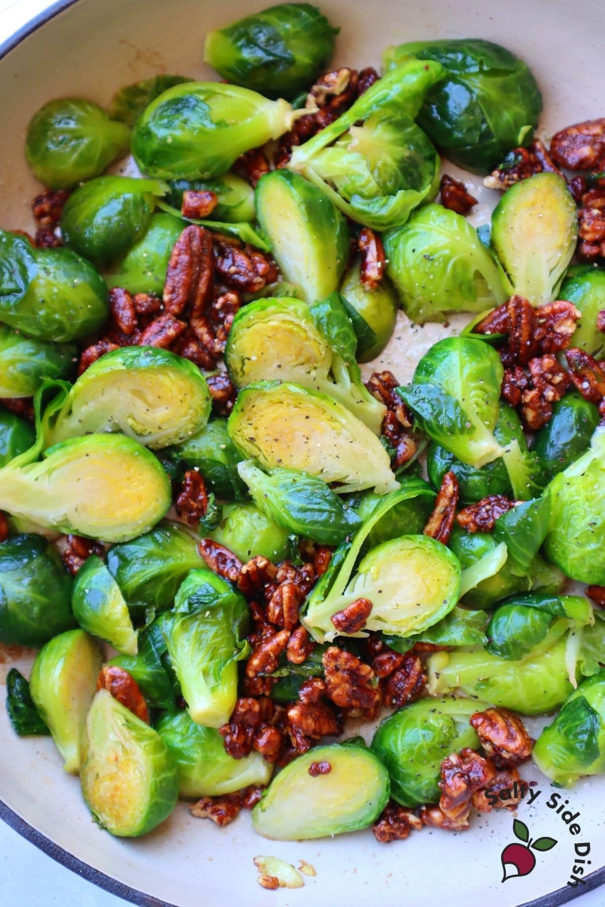 brussels sprouts in a dish with cranberries