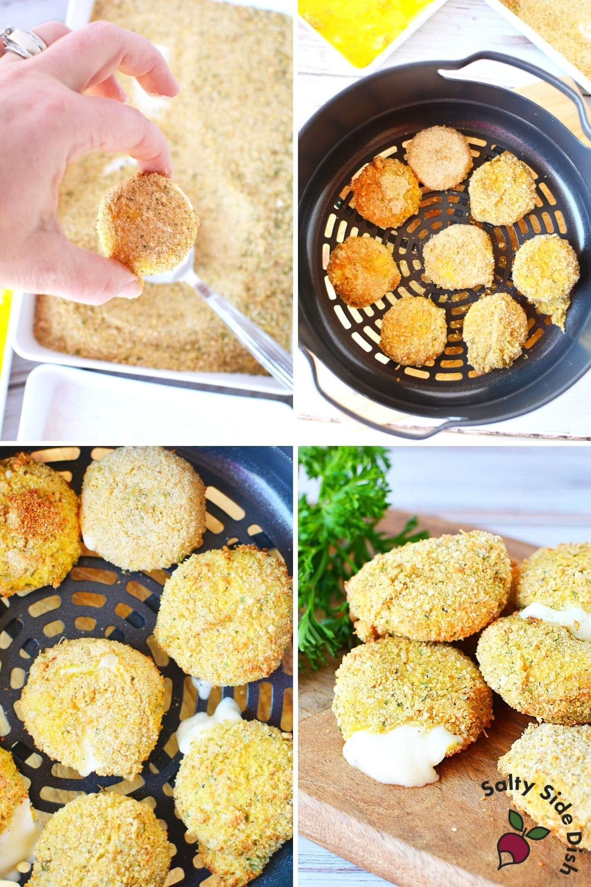 placing cheese into air fryer basket