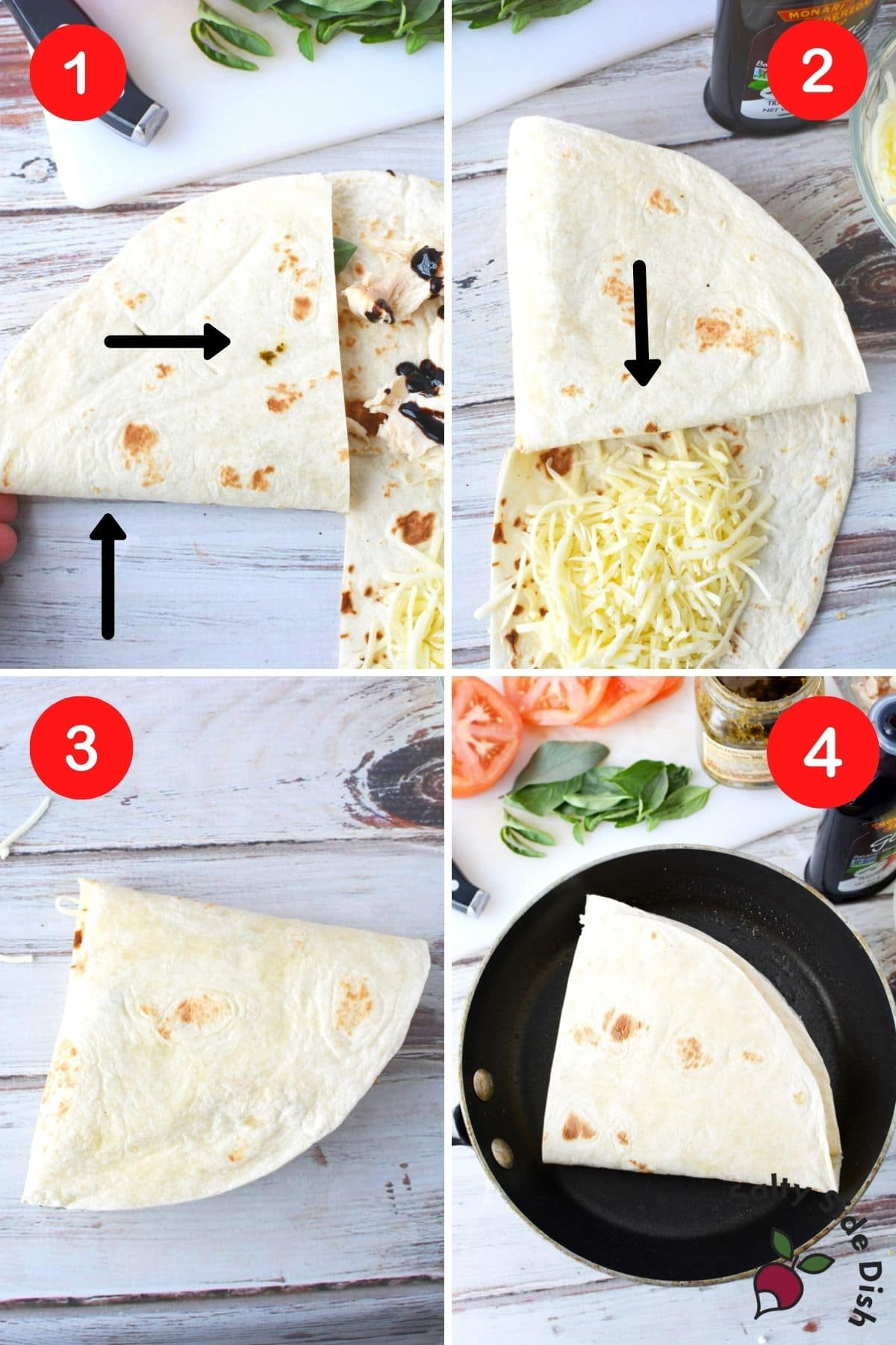 how to fold a tortilla into a triangle