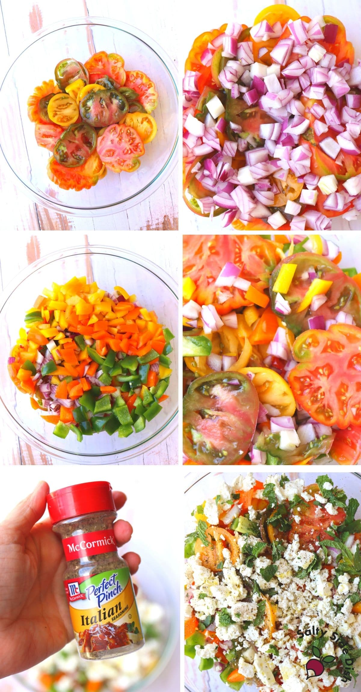adding all vegetables to a large mixing bowl