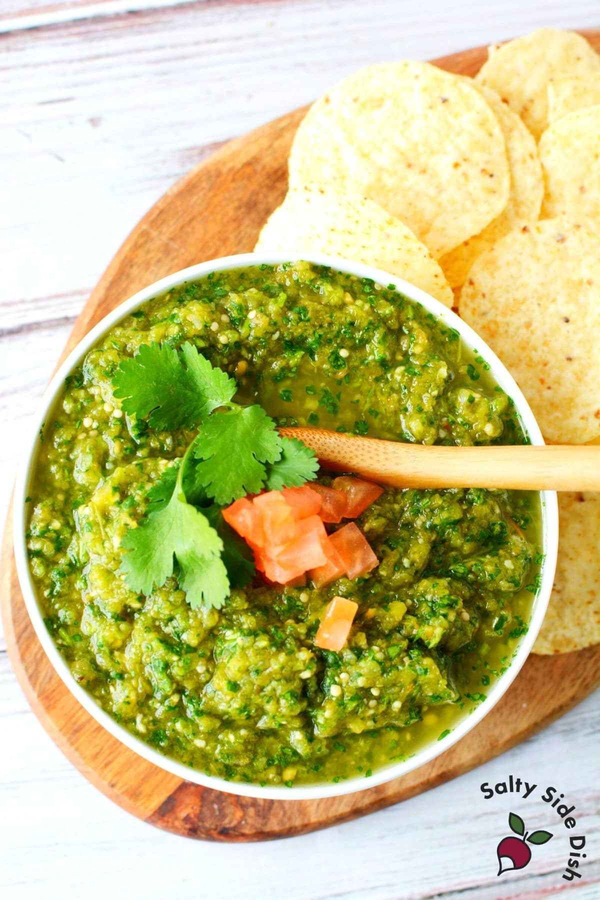 salsa verde in a bowl with chips
