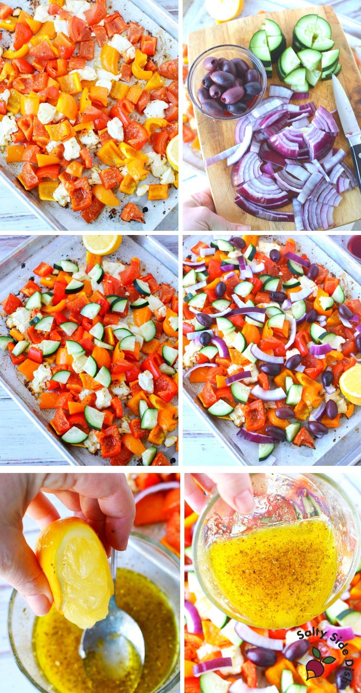 add raw vegetables and lemon dressing into Greek salad