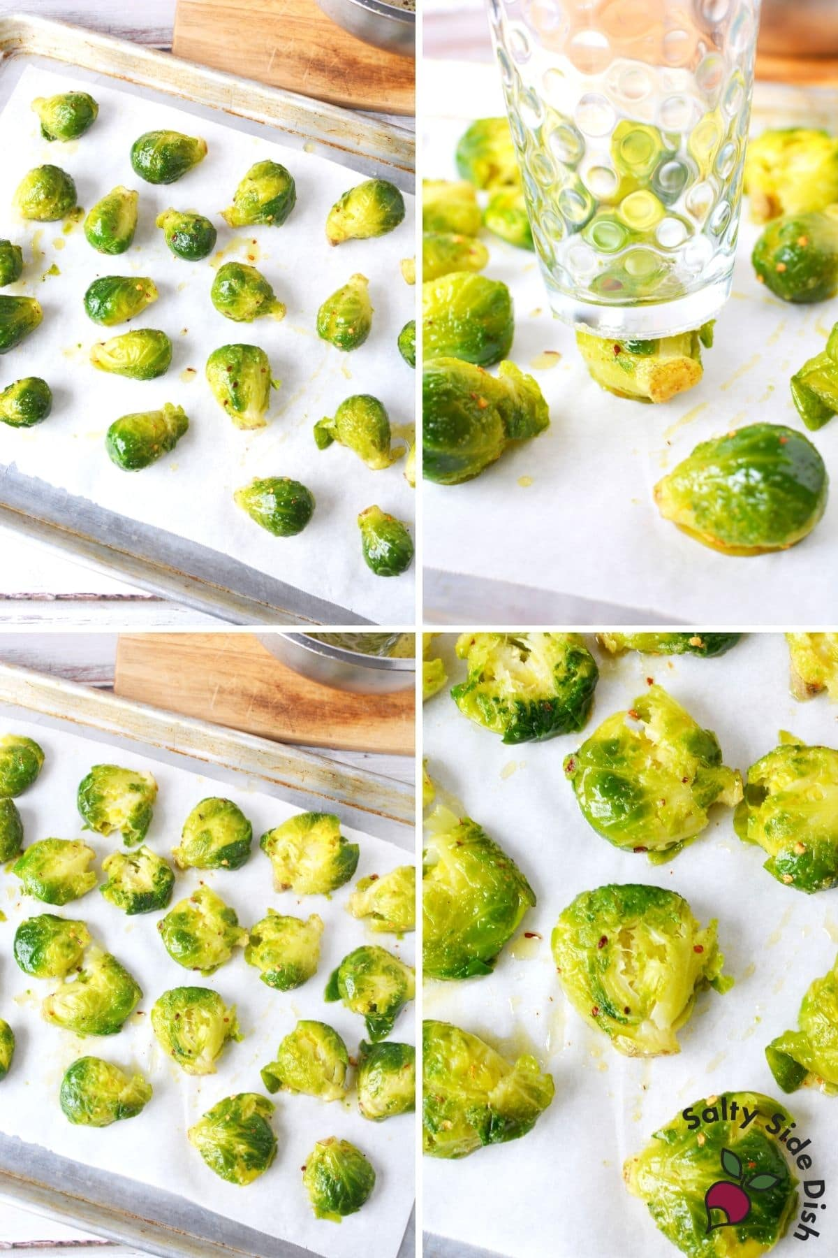 smashing two brussels sprouts with a glass