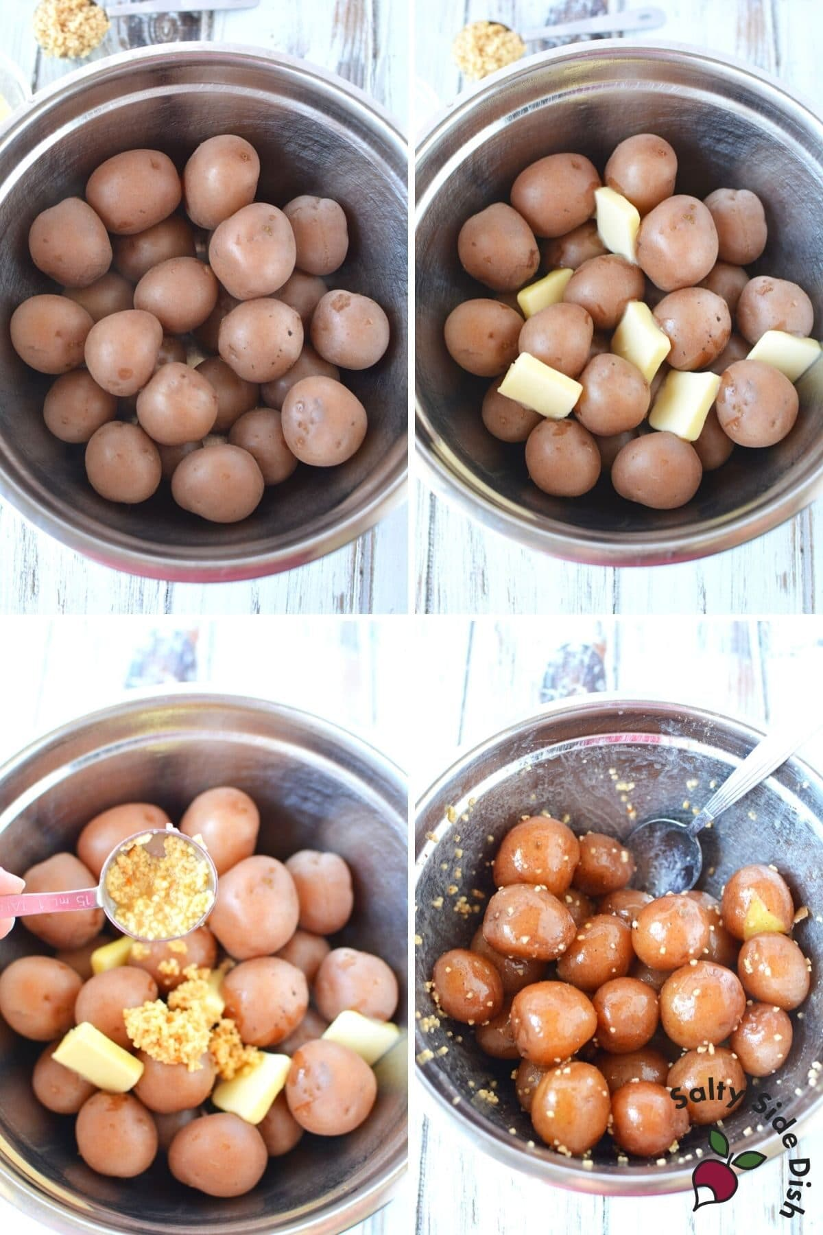 boiled red potatoes in a mixing bowl with butter and garlic