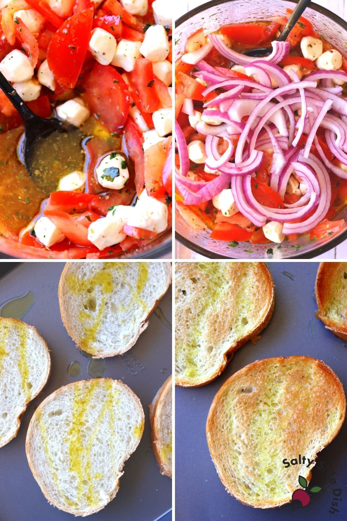bruschette bread and bowl of tomatoes and red onions