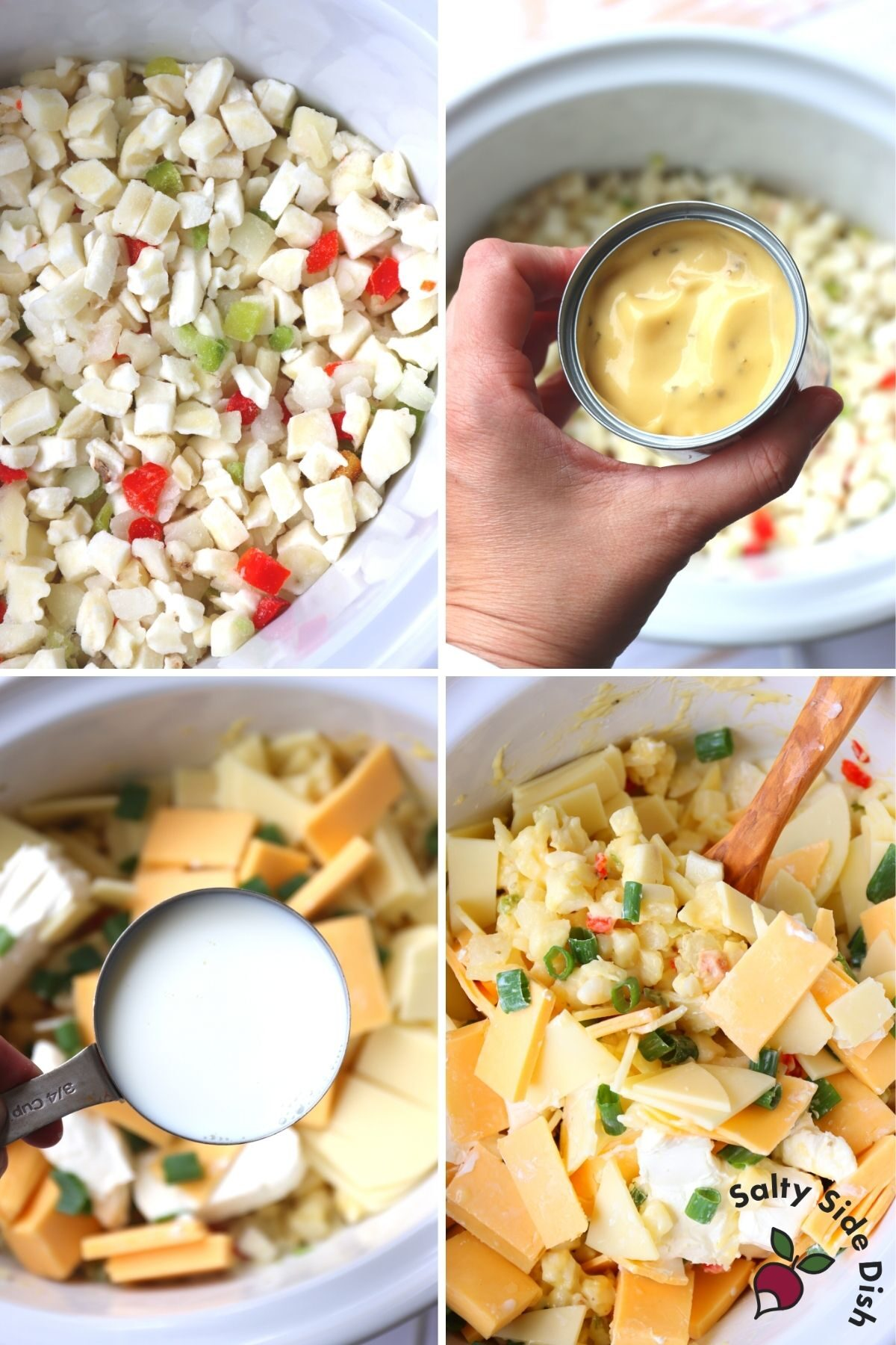 adding ingredients for slow cooker gouda potatoes
