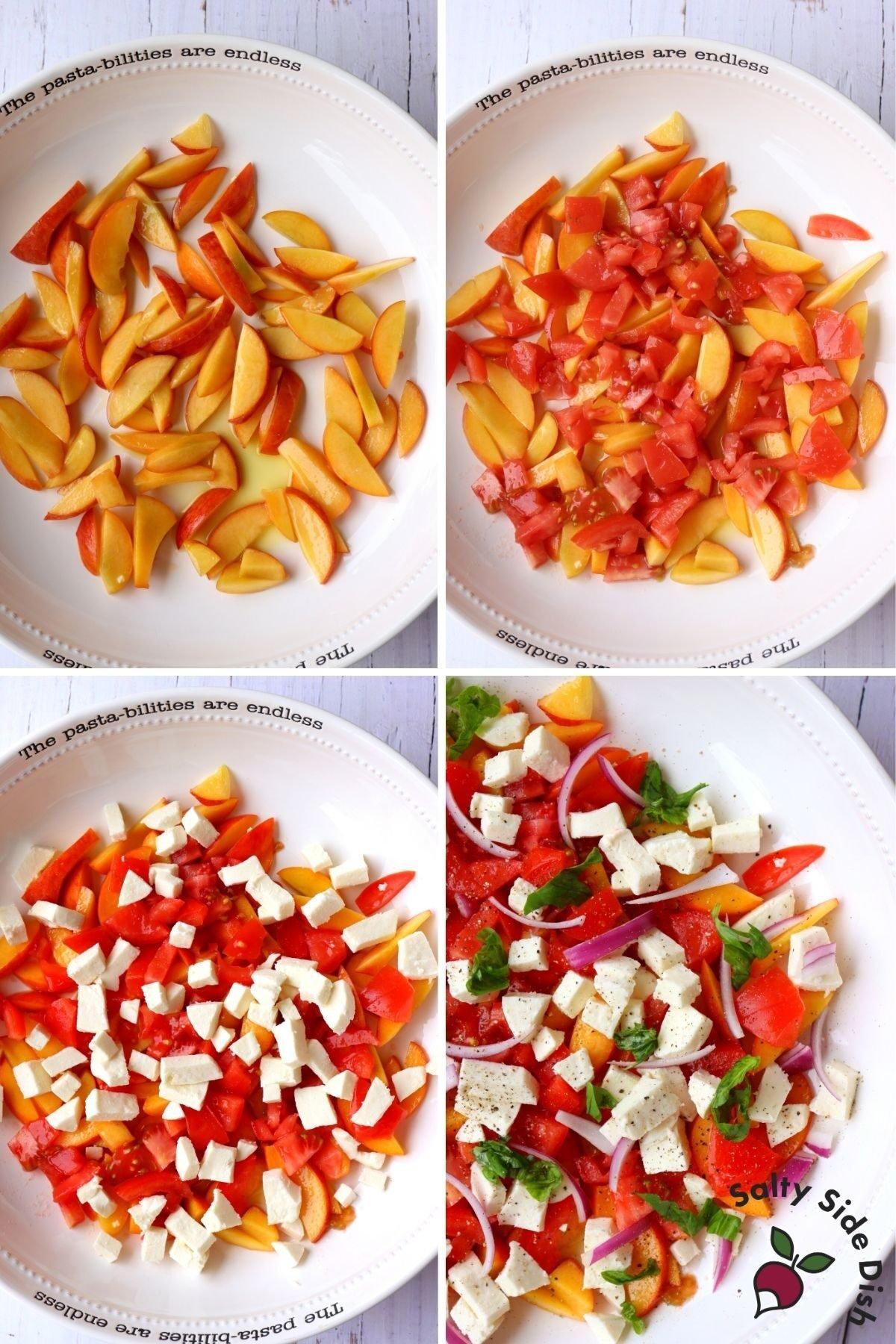 peach caprese ingredients in a bowl