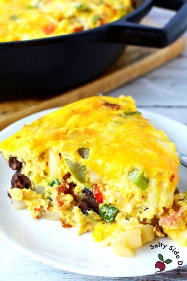 slice of cowboy breakfast casserole