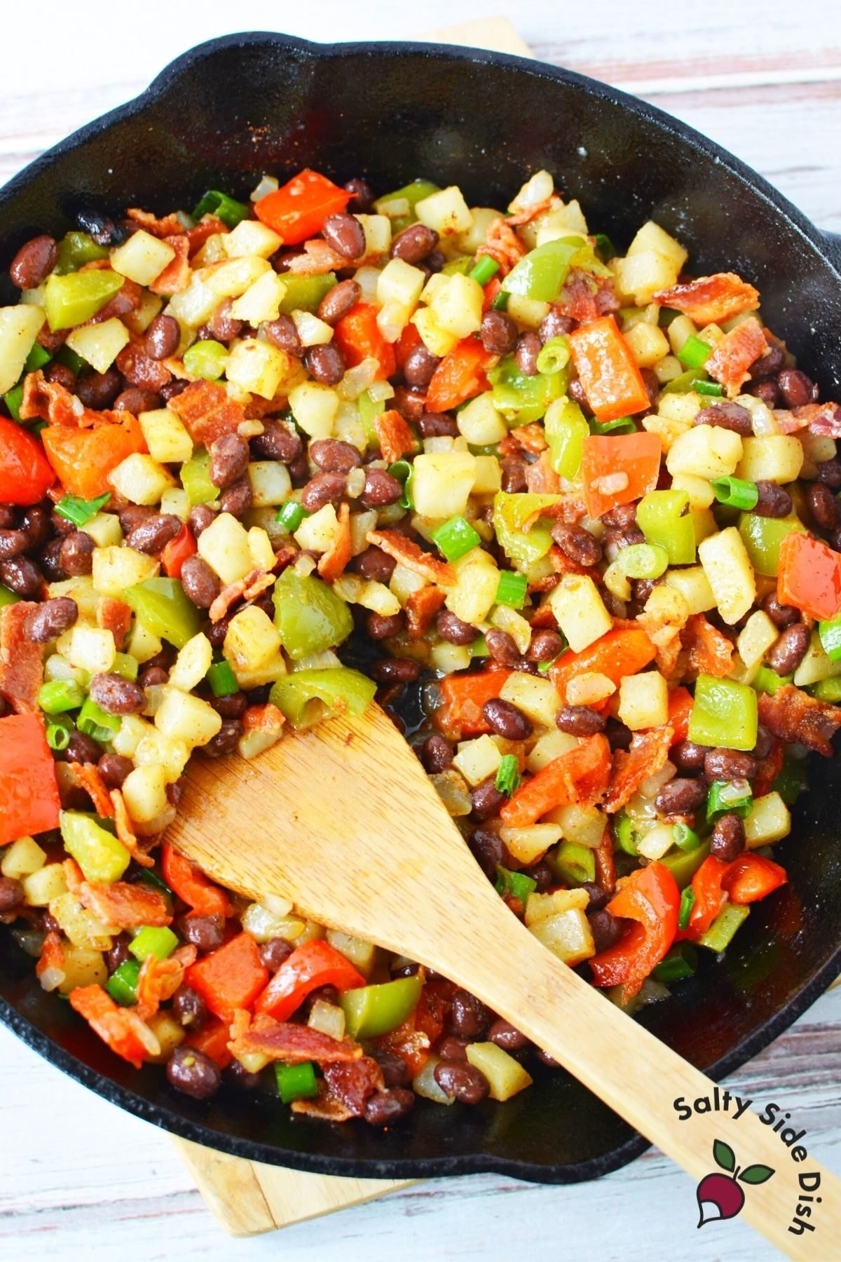 vegetables in a cast iron pan