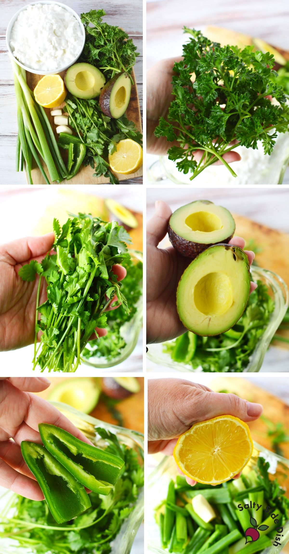 showing all green goddess ingredients in a blender