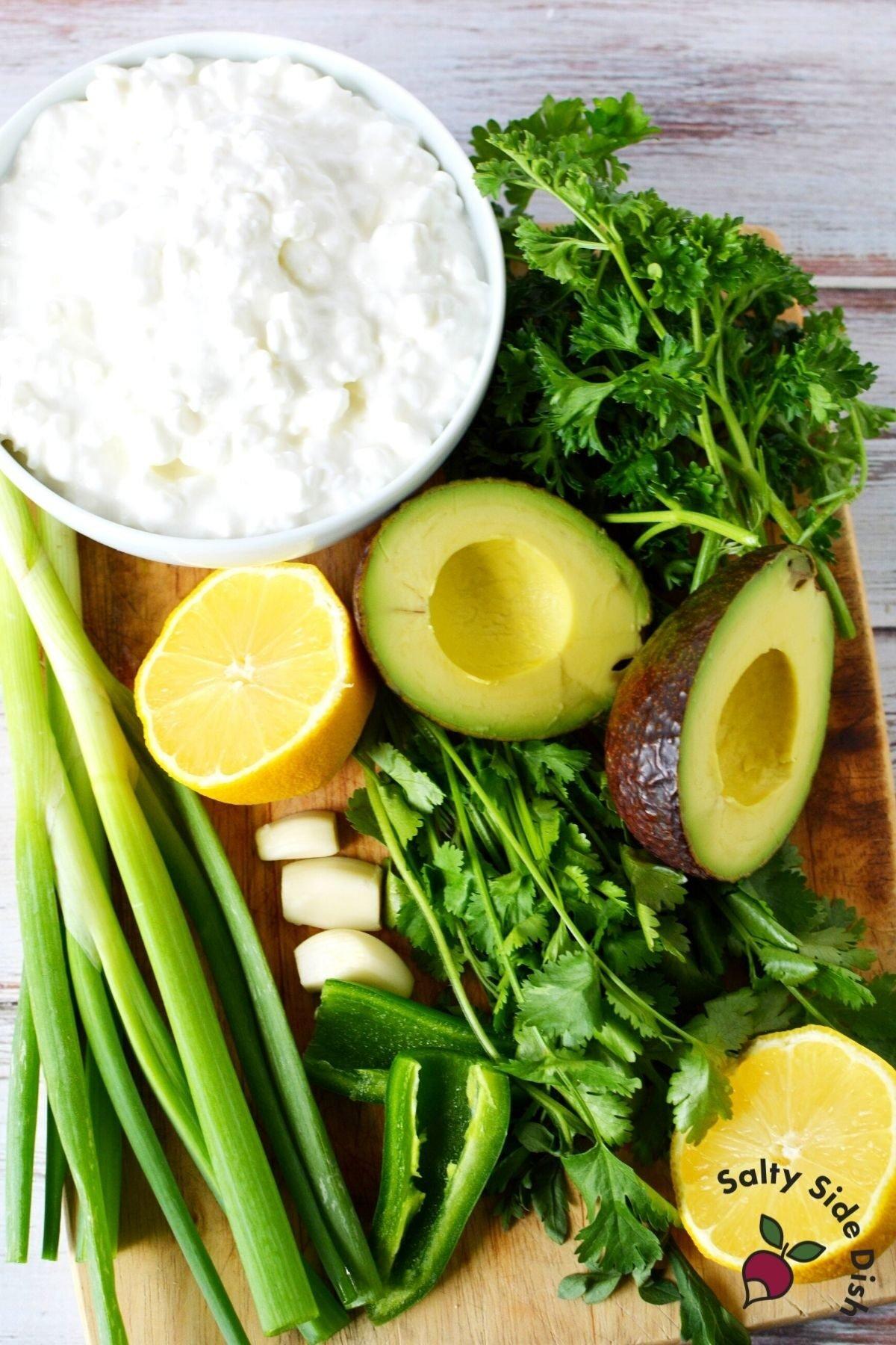 green goddess ingredients sitting on counter