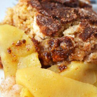 no oat apple crisp sitting on a plate