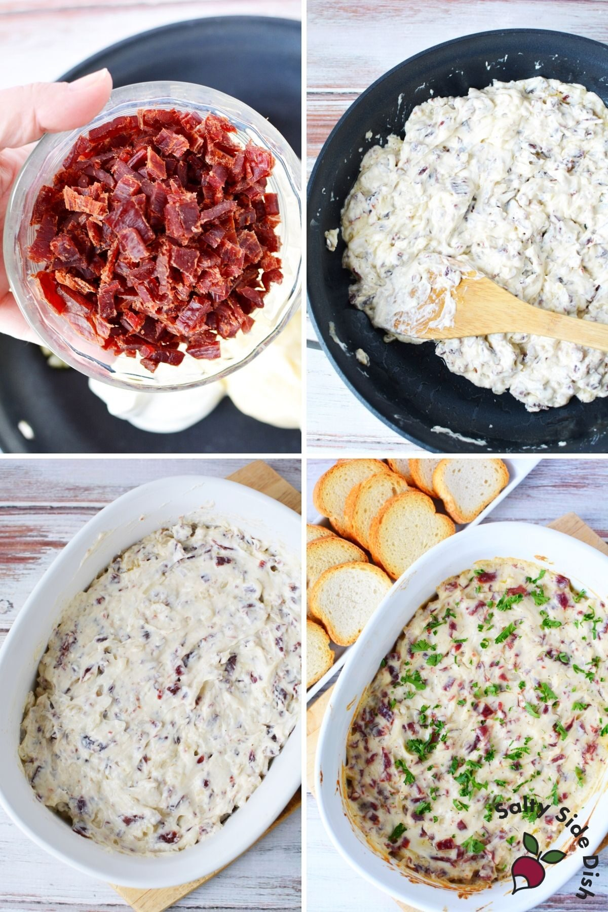 chipped beef dip ingredients added to a casserole dish
