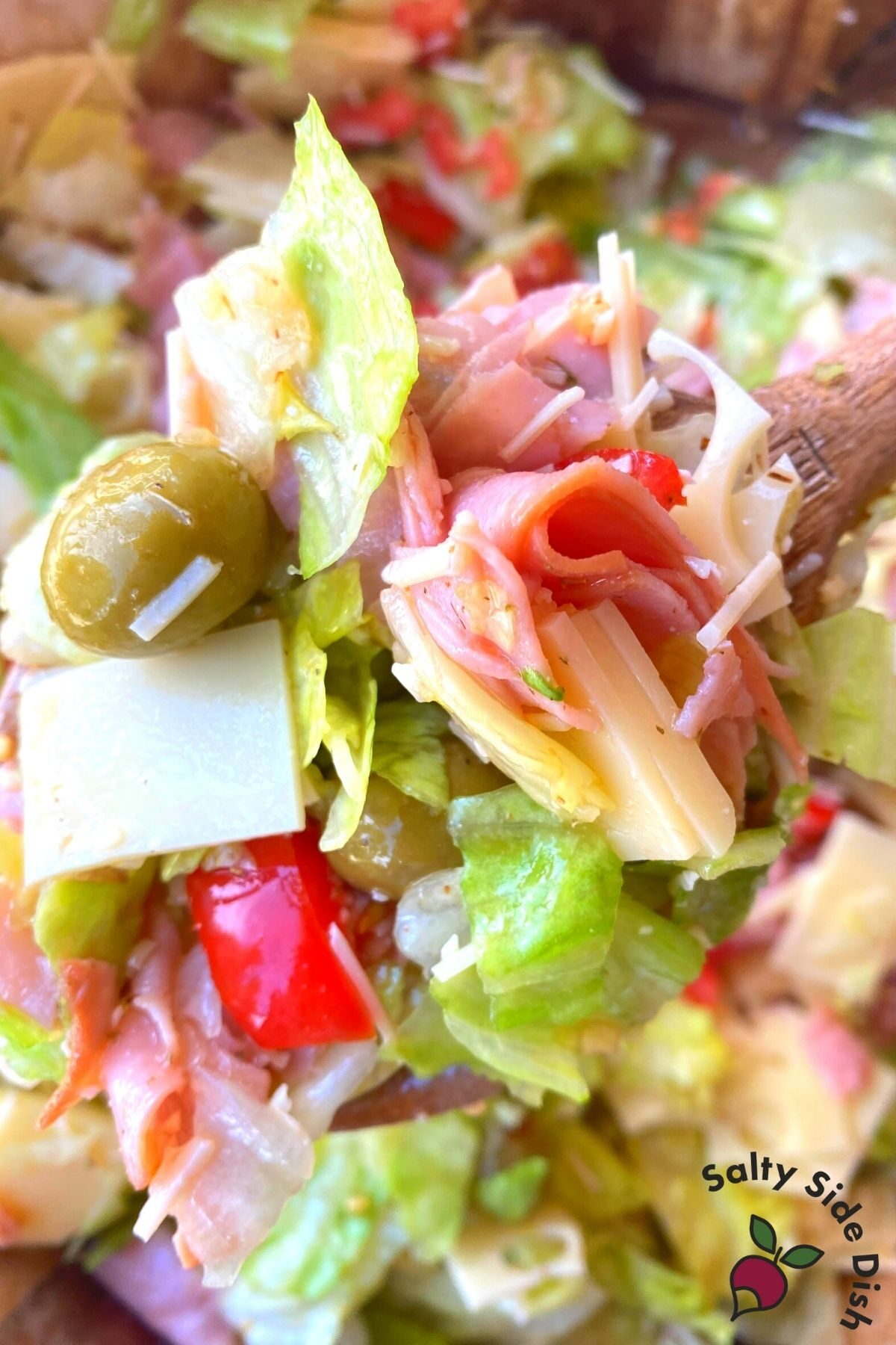 close up of columbia salad on a wooden spoon.