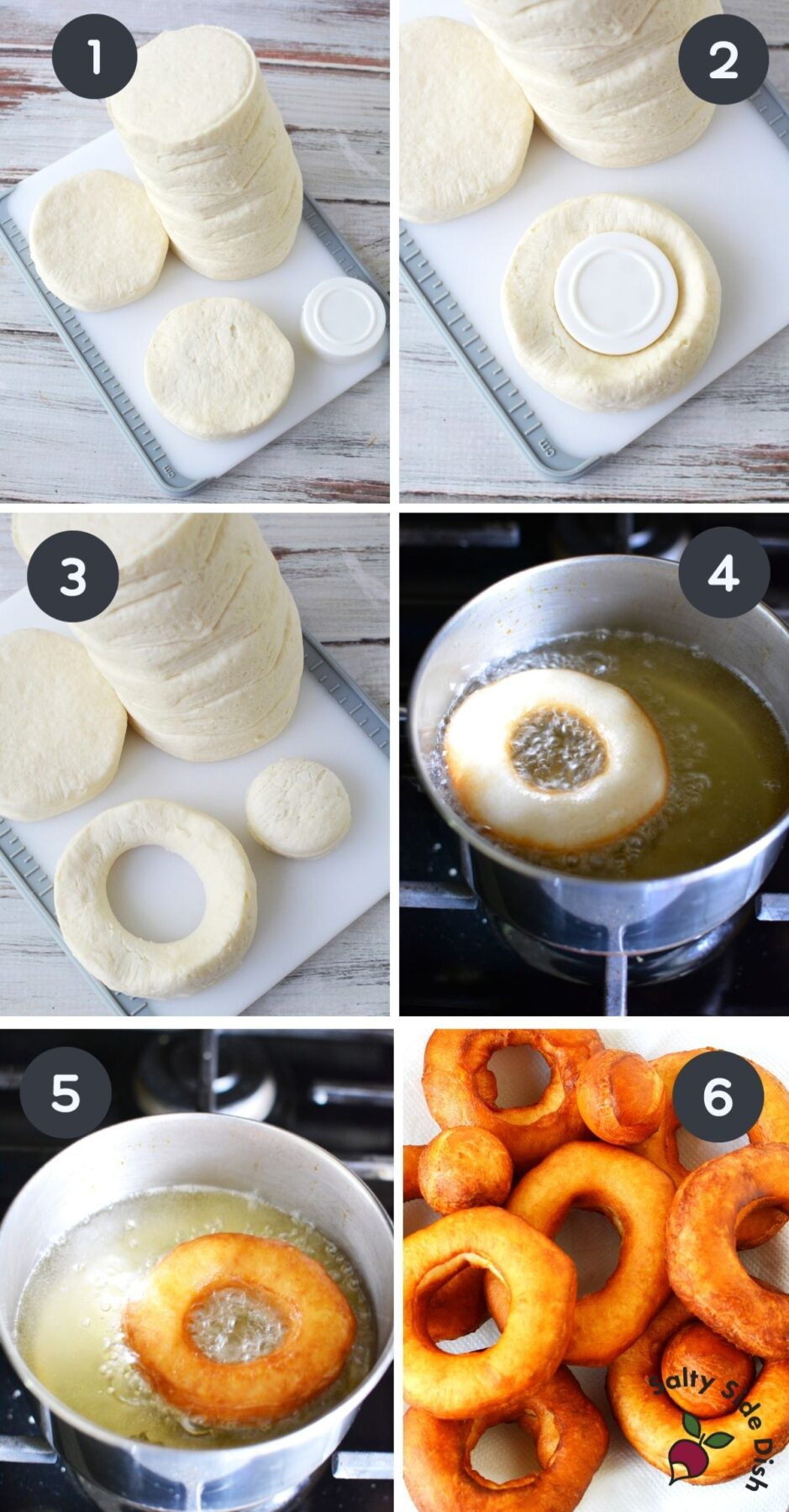 6 image collage of how to make and fry biscuit donuts