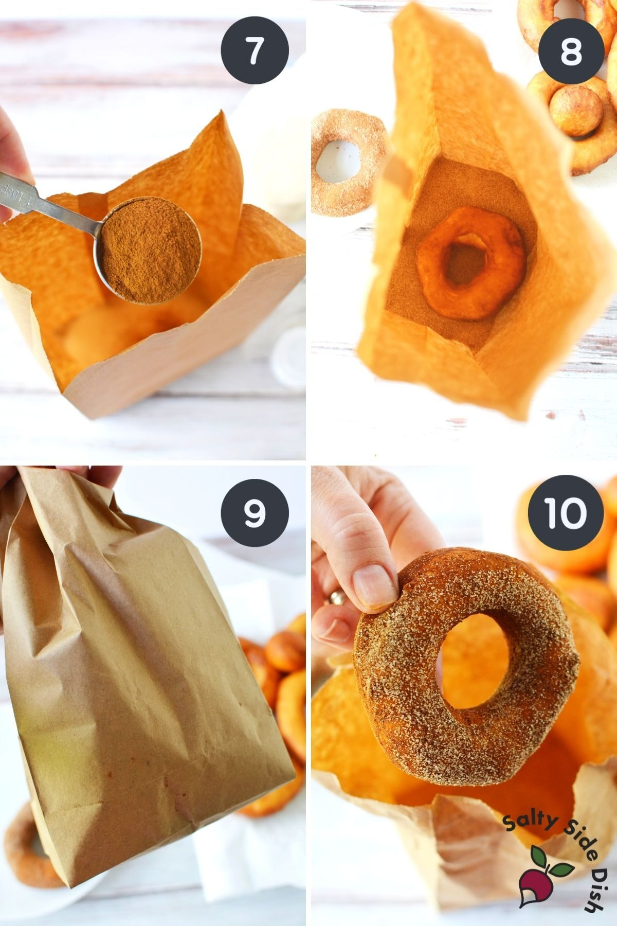 4 image collage of adding cinnamon to bag and shaking freshly made donuts
