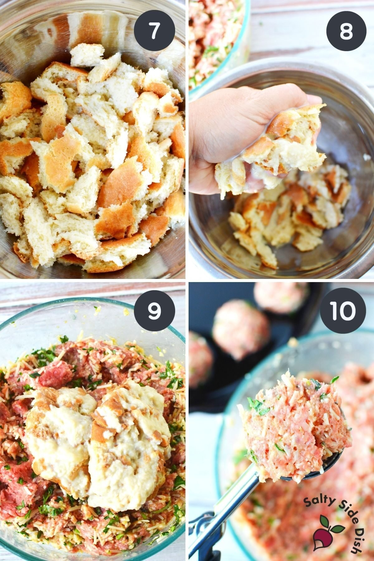collage of 4 images showing adding bread crumb mixture in beef and scooping.
