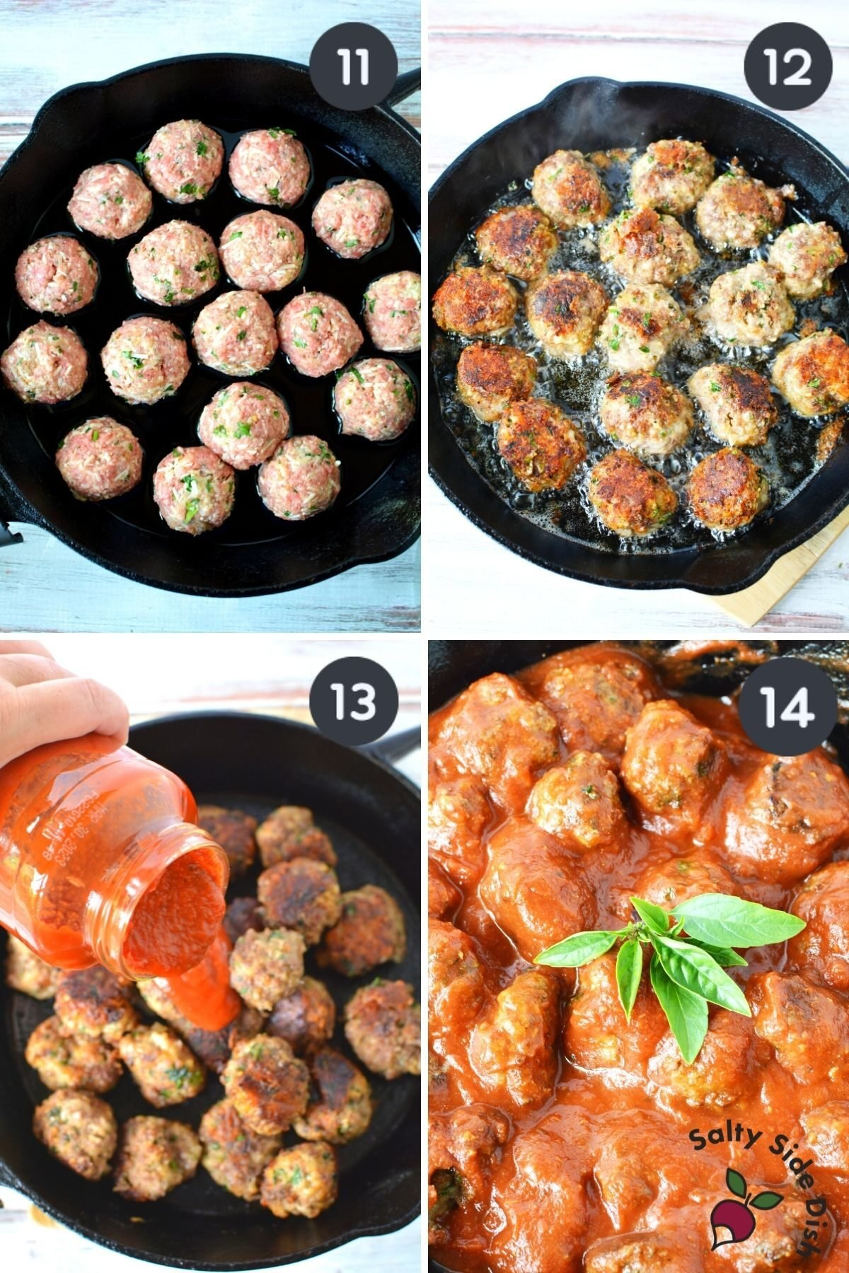 4 images showing raw to cooked meatballs and then simmered in sauce.