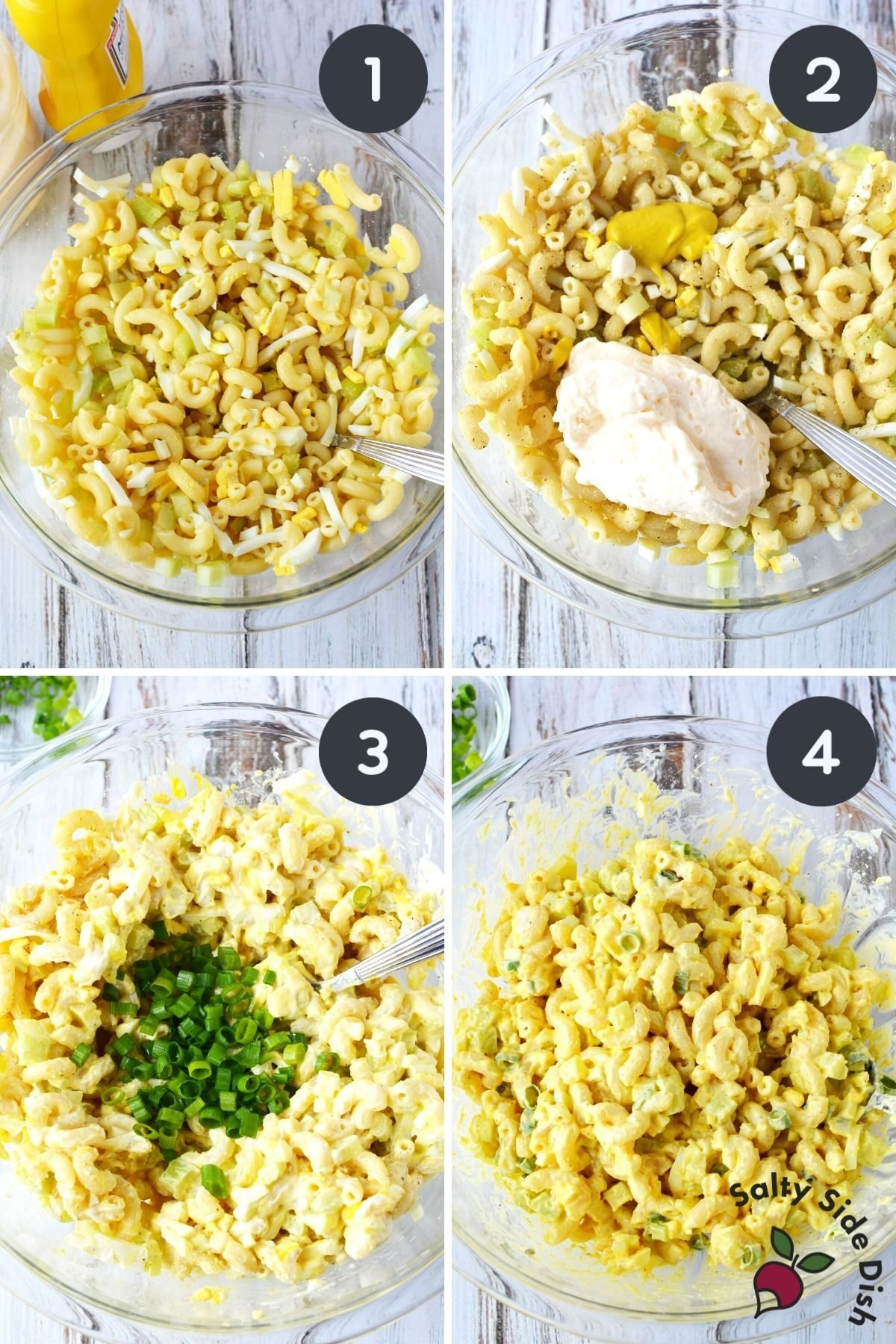 4 image collage of prepping and adding in all macaroni salad ingredients.