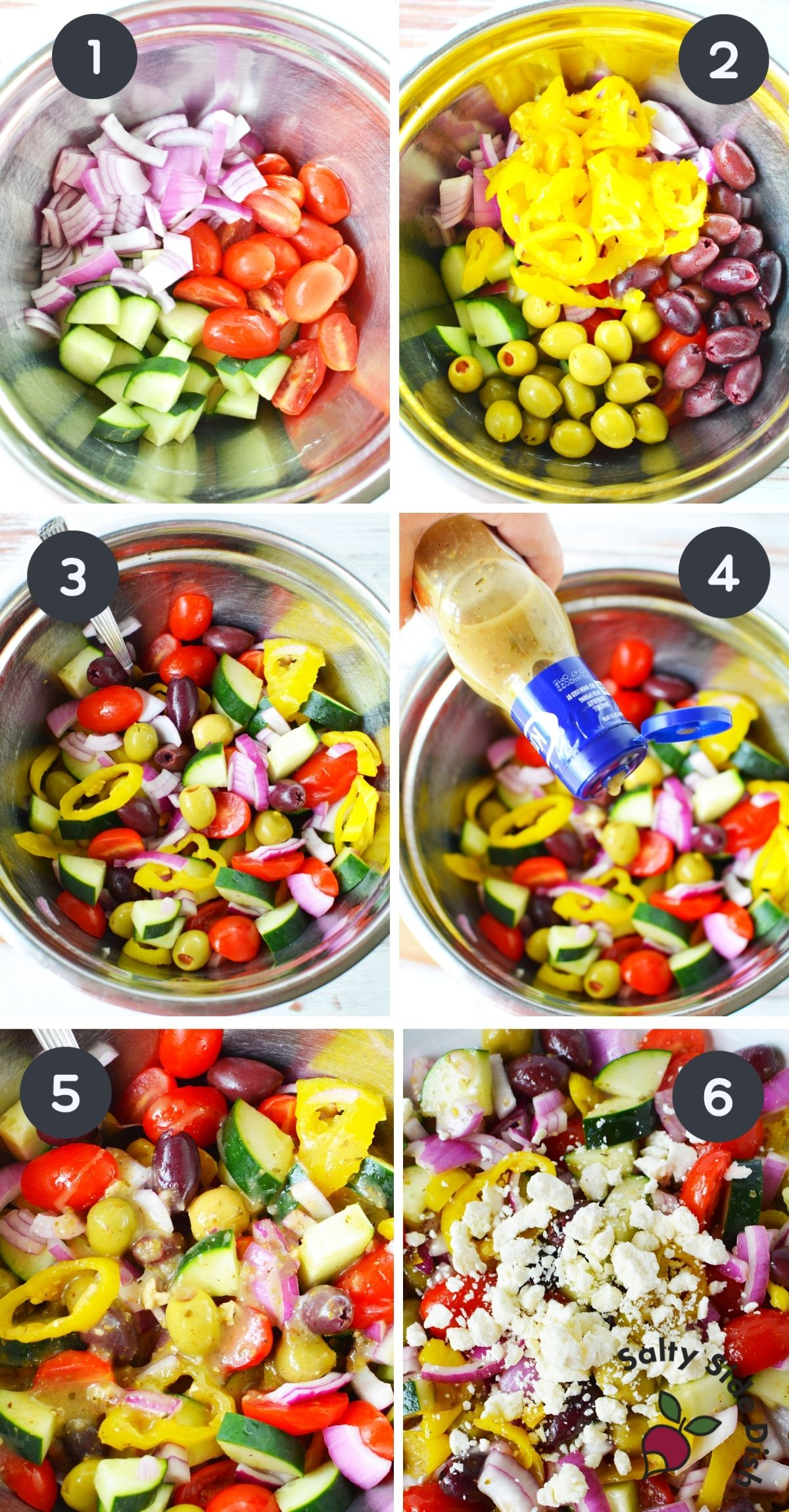 6 collage images of creating Greek salad in a bowl.