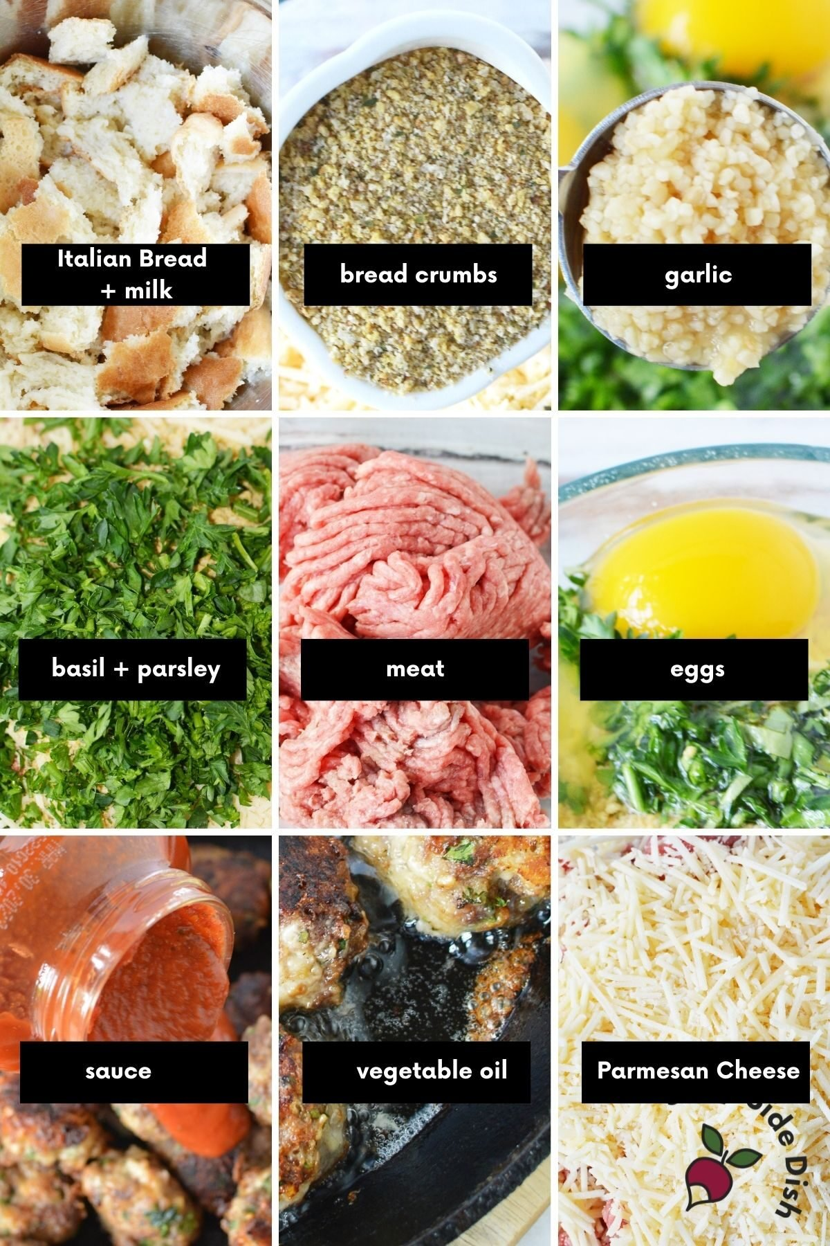 9 image collage of meatball ingredients laid out and labeled.