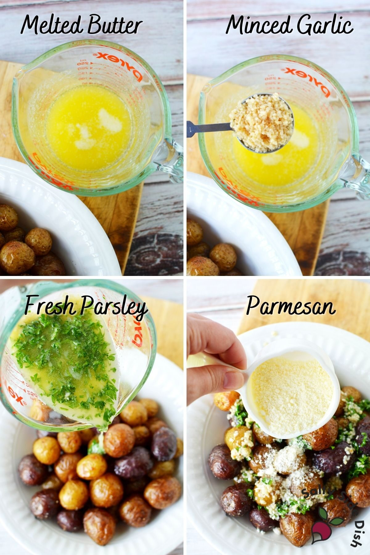 collage of herbs and butter being dumped onto mini potatoes