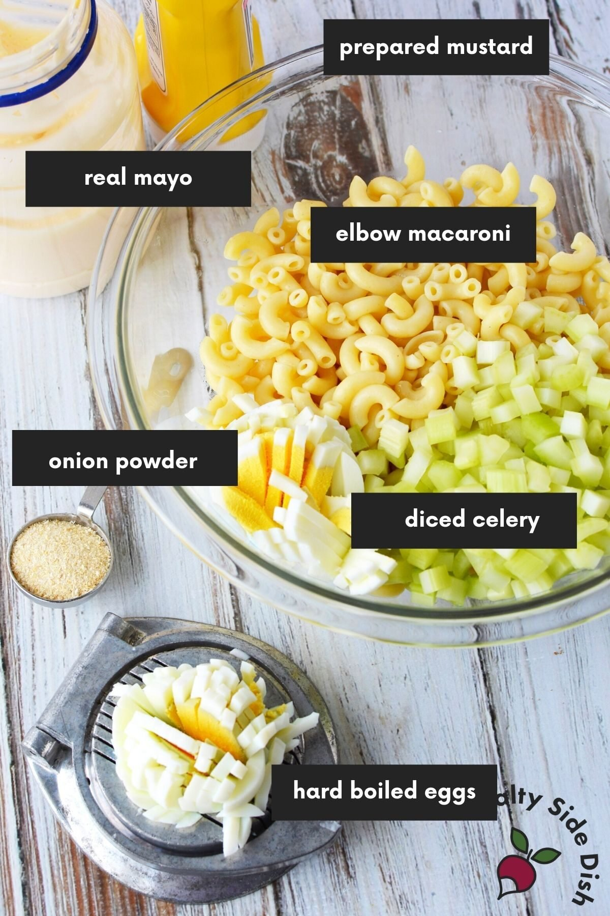 laid out ingredients labeled for macaroni salad.