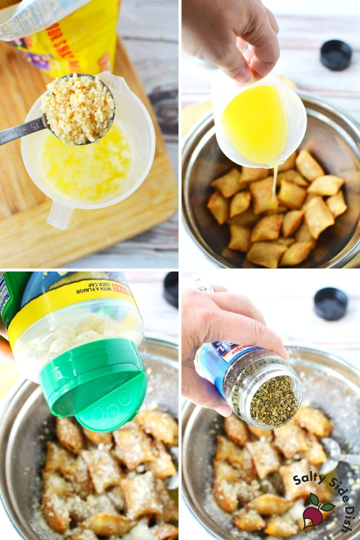 pouring spices into fried pizza rolls