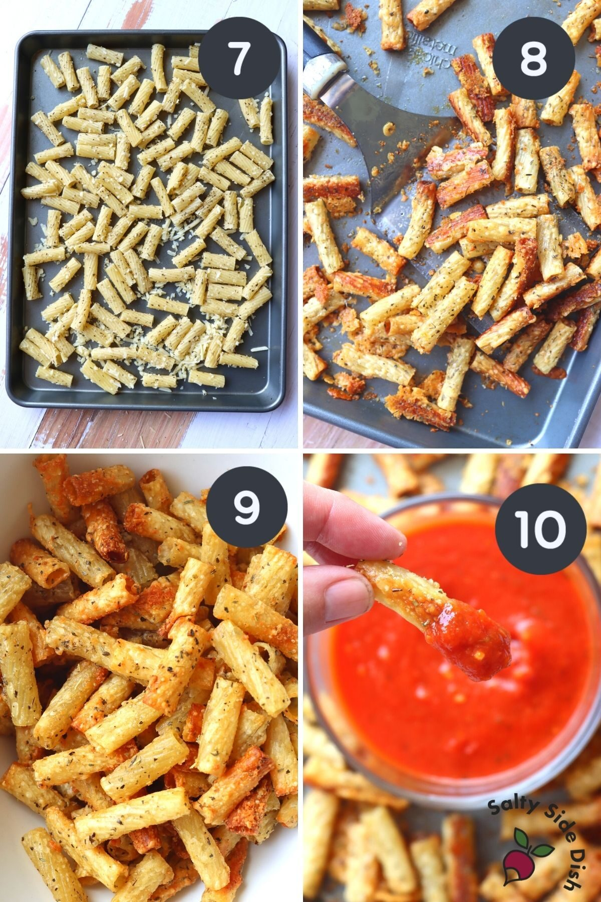 4 image college of baked pasta chips and dipping completed chips into sauce.