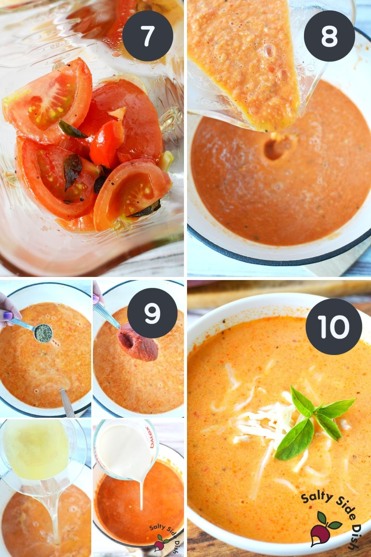 4 image collage of how to properly blend tomato bisque.