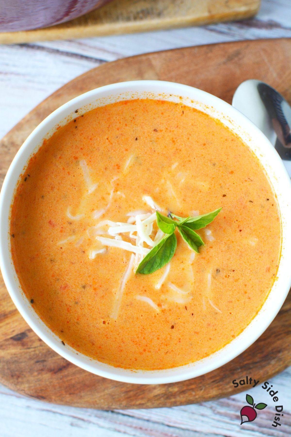 huge white bowl of fresh tomato soup.